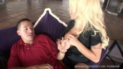 Beautiful blonde MILF seduces her stepson