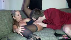 Blonde german mommy fuck with young nerd